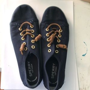 Sperry navy blue canvas sneakers size 4